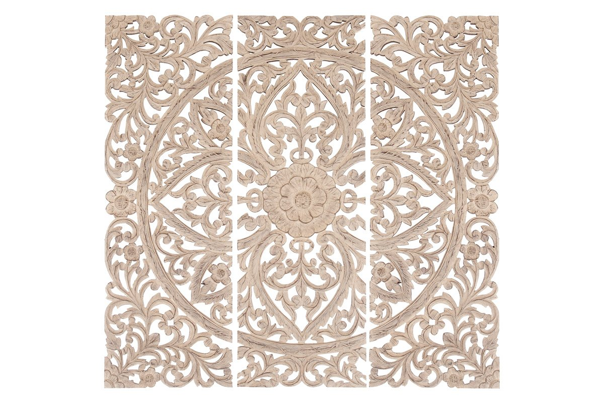 Benzara Set of 3 Wall Wooden Wall Plaques by Benzara