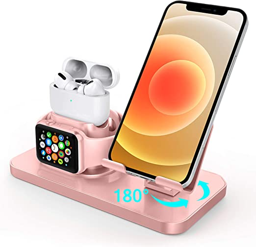 Amazon Com Charging Stand For Apple Watch Series 6 5 4 3 2 1 Airpods Pro 2 1 Guagua 3 In 1 Rotating Charging Dock Station For Iphone 12 11 Pro Max X Xs Xr 8 7 Se 2020 Samsung S21note 20 Ultra S20 Plus Rose Gold