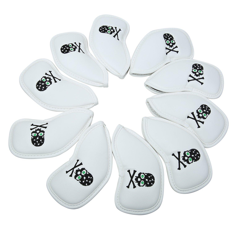 10 xゴルフアイアンヘッドカバーセットHeadcoversスカルアイアンクラブカバーfor Taylormade Ping B06XJ1P1TY ホワイト ホワイト