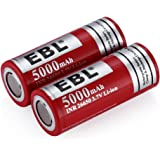 EBL Lot de 2pcs 26650 3.7V 5000mah Pile Rechargeable Lithium Batterie Rechargeable de Haute Qualité