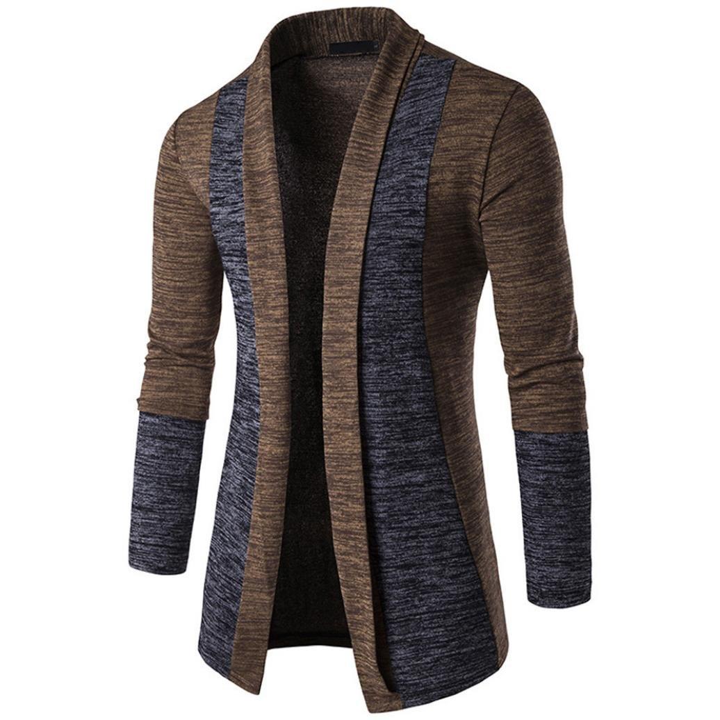 HTHJSCO Mens Long Sleeve Draped Lightweight Open Front Shawl Collar Longline Cardigan (Coffee, XXL)