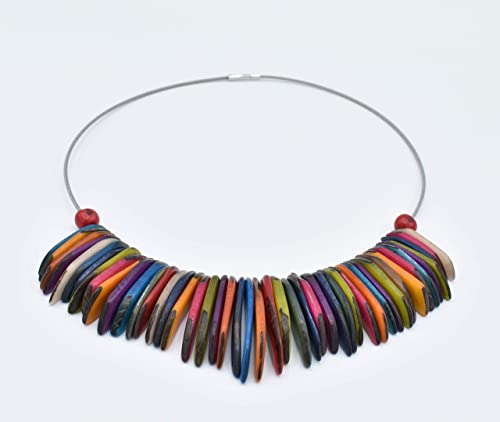 Tagua Nut Necklace in Purple and Turquoise