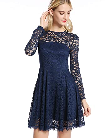 8e37d8128b8 MAVIS LAVEN Women s Floral Lace Long Sleeve Backless Cocktail Formal ...