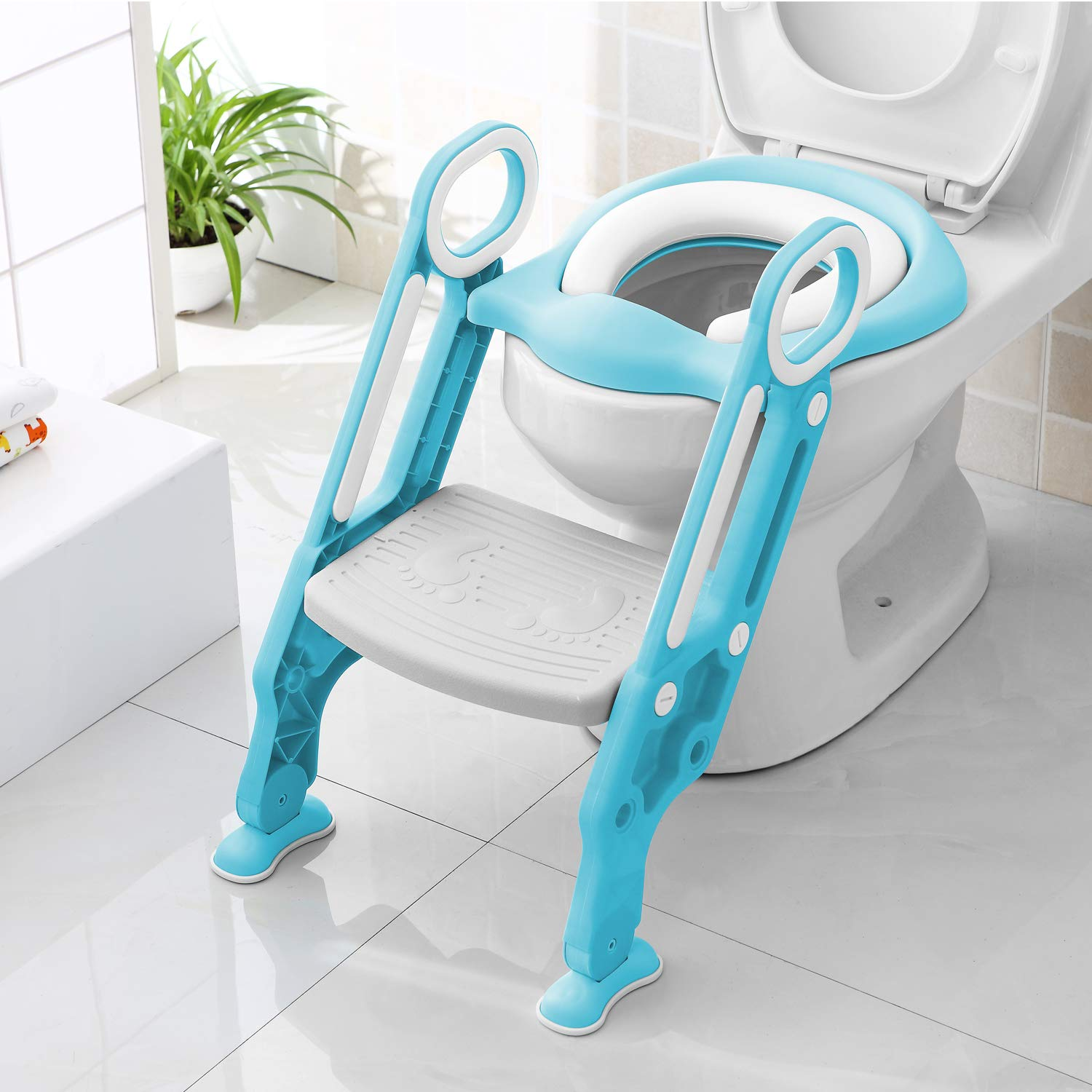 Bamny Potty Ladder - Toilet Step Ladder - Toddler Potty Training Ladder Seat Built in Sturdy Non-Slip Steps & Anti-Slip Pads Potty Step Ladder for Toddlers & Boys(Blue)