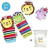 Deardeer 4 x Baby Infant Animal Rattles Toys Wrist Bands & Foot Socks Soft Hands Foots Finders Developmental Toys