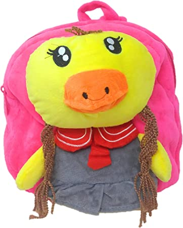 Oytra Magenta Fur Soft Bag for Kids 1-3 Years - Chick Plush Bag