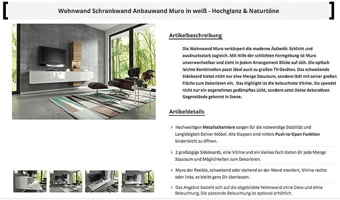 Wuun Wohnwand Schrankwand Anbauwand Tv Board Muro In Weiß   Hochglanz U0026  Naturtöne/2 4 Werktage Lieferzeit/(260x185x40)/Sonoma Eiche, Ohne  Beleuchtung: ...
