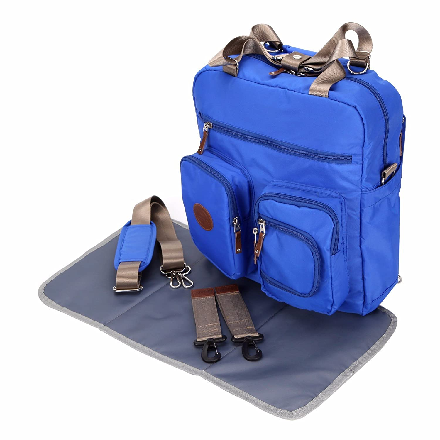 f6b1b10e50886 Amazon.com : Baby Diaper Bags Backpack Designer for Dads Mom Twins  Multi-function Large Tote (Blue) : Baby