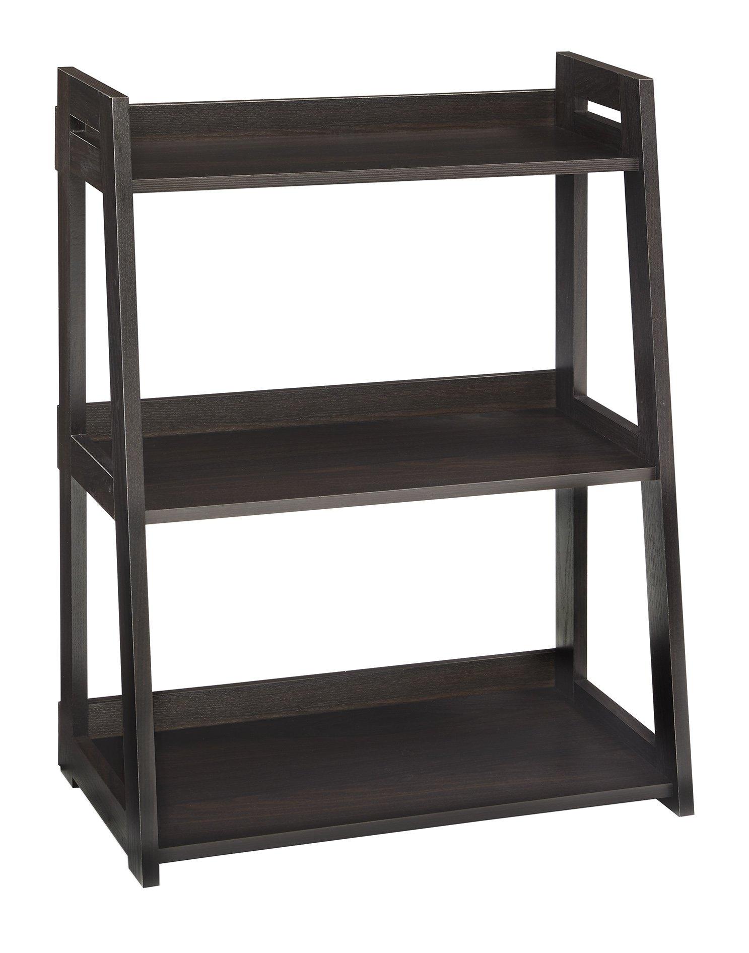 ClosetMaid 3312 No-Tool Assembly Ladder Shelf, Wide 3-Tier, Black Walnut