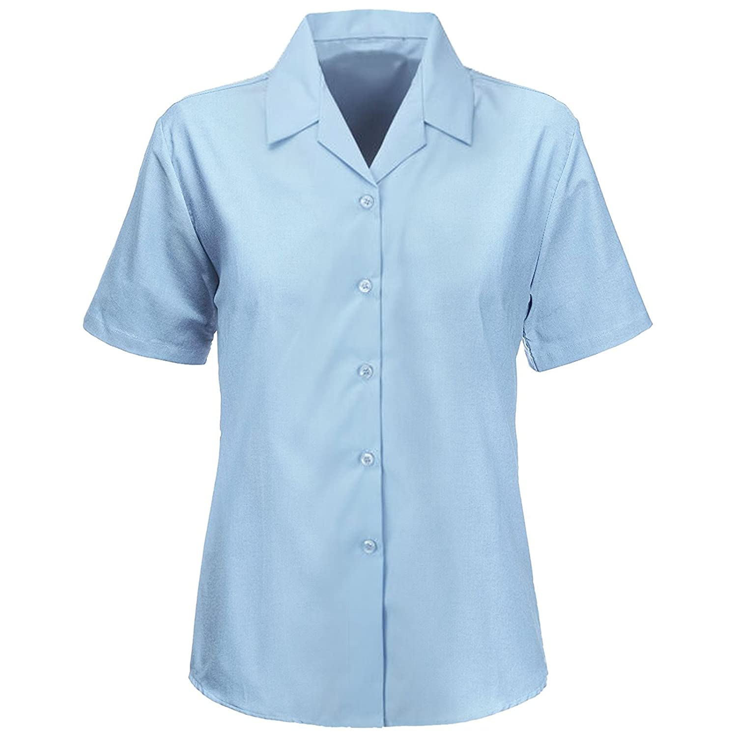 e1fed2a111a904 Kids Girls Revere Collared Blouses Shirts School Uniform Short Sleeves  Smart WEAR  Amazon.co.uk  Clothing