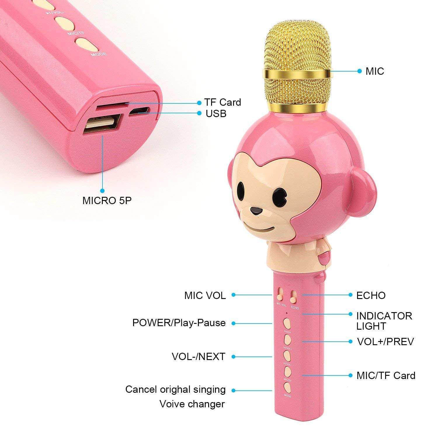 LingHui Kids Microphone Wireless Bluetooth Karaoke Microphone , 3-in-1 Portable Handheld Karaoke Mic Home Party Birthday Speaker Machine for iPhone/Android/iPad/Sony,PC and All Smartphone (Pink) by LingHui (Image #2)