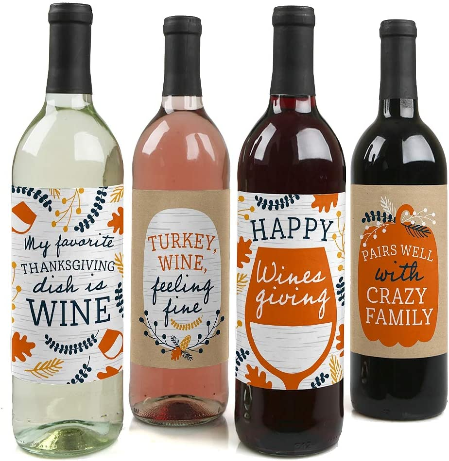 Big Dot of Happiness Happy Thanksgiving - Fall Harvest Party Decorations for Women and Men - Wine Bottle Label Stickers - Set of 4