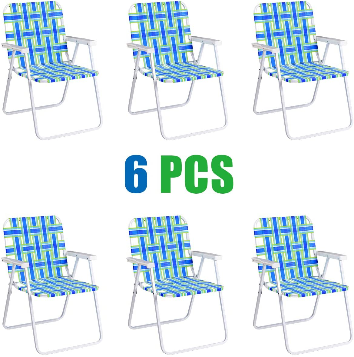 Giantex Folding Lawn Chairs Set of 6 Outdoor Portable Beach Chair W Stable Steel Frame for Camping,Beach,Backyard BBQ Folding Webbed Chair Bule