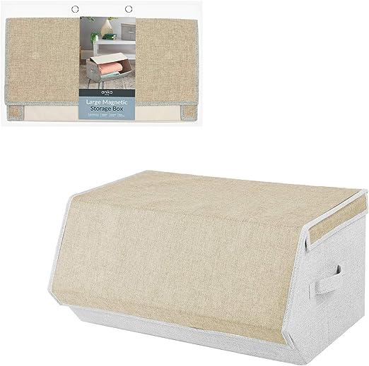 Anika - Caja de almacenamiento apilable con tapa magnética (25 x 35 x 50 cm), lona, crema, 25cm x 35cm x 50cm: Amazon.es: Hogar