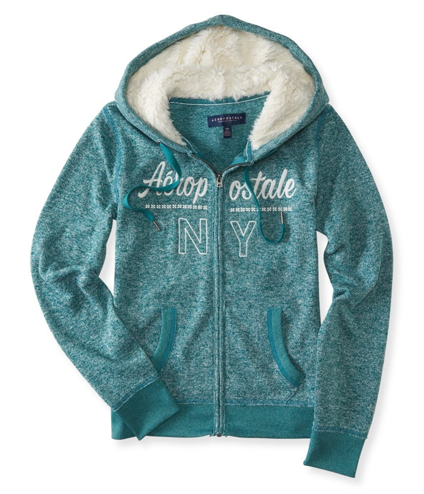 Aeropostale Womens Heathered NY Hoodie Sweatshirt Green M - Juniors