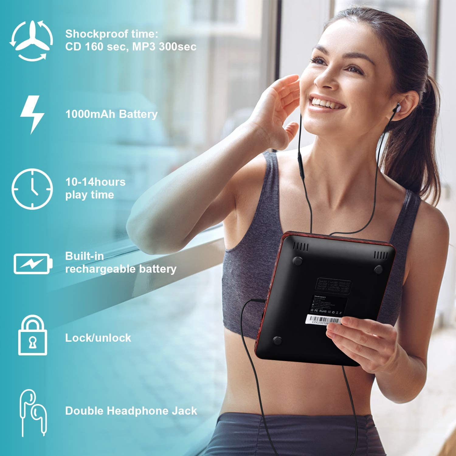Anti-Skip//Shockproof Function Music Disc Walkman Player. Portable CD Player with Earphones USB Charger LCD Display Digihero Upgrade Personal Portable CD Player With 1000mAh Battery