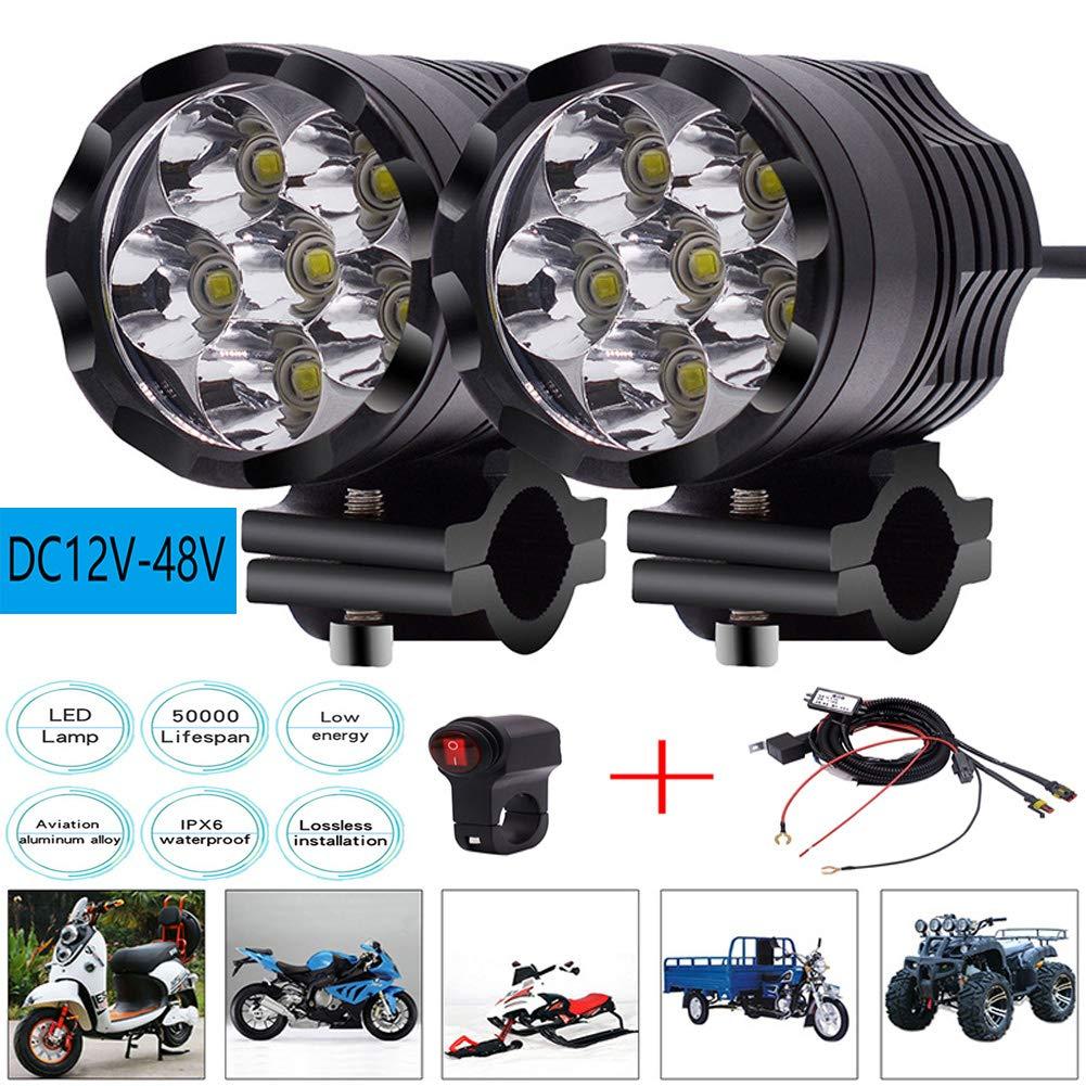 RoJuicy 2 x LED Motorcycle Headlight Lights Driving Passing Spotlight Light Bar Waterproof 12-24V + Wiring Harness
