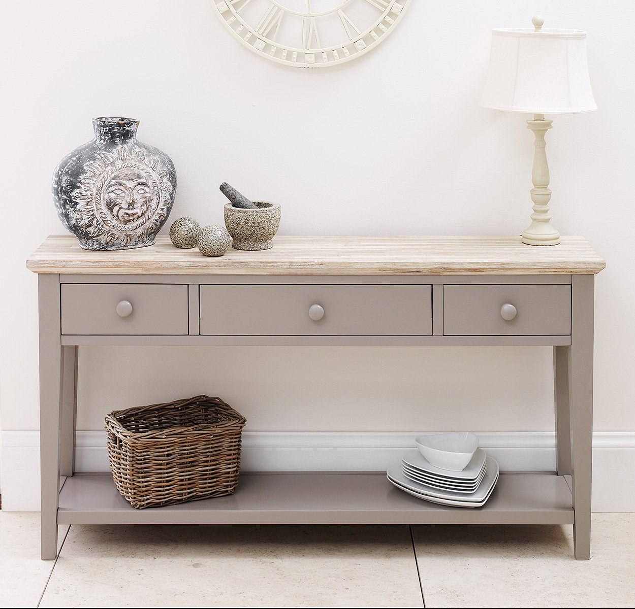 florence console table dove grey very sturdy console table with   - florence console table dove grey very sturdy console table with  drawersshelf solid sides and back beautiful limed top finish amazoncoukkitchen