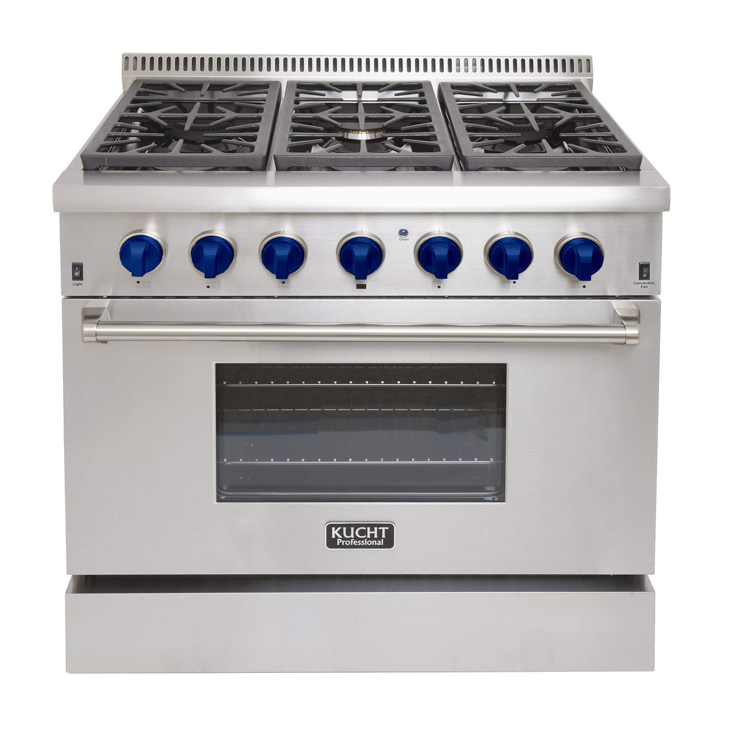 Kucht KRD366F-S Professional 36' 5.2 cu. ft. Dual Fuel Range for Natural Gas, Stainless-Steel, Classic Silver Kucht Appliances