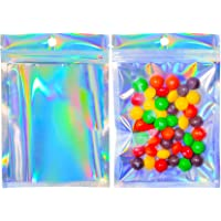 100Pcs Holographic Smell Proof Bags,Resealable Rainbow Holographic Bags Packaging,Foil Pouch Double-Sided Storage Bags…