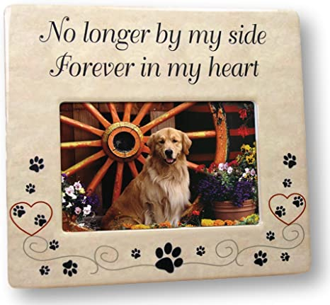 Amazon Com Pet Memorial Ceramic Picture Frame No Longer By My Side Forever In My Heart Pet Loss Gifts Pet Photo Frame Pet Sympathy Gift In Memory Of