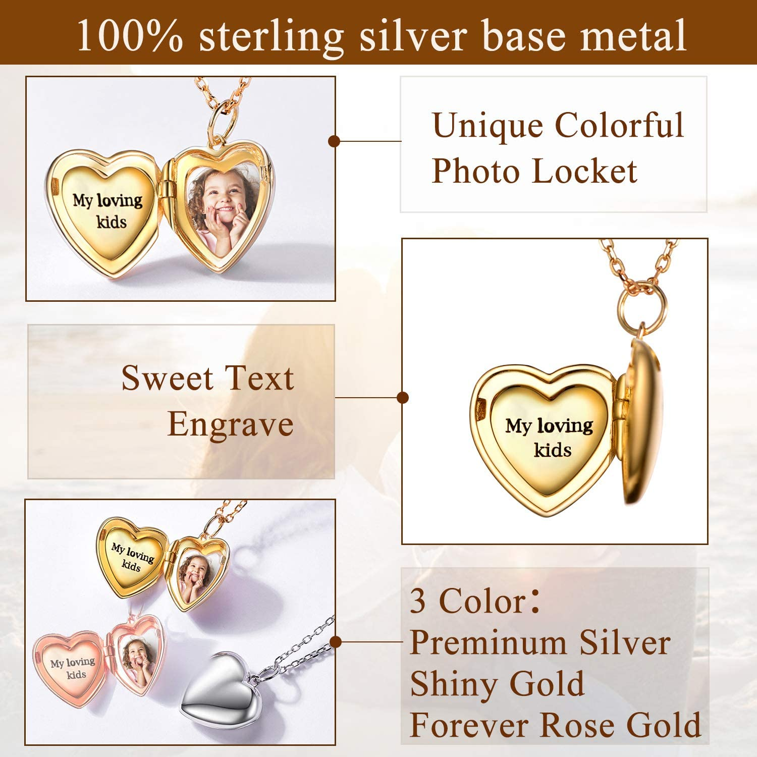 with Gift Box Resizable Rolo Chain Customizable Gold//Rose Gold Plated 925 Sterling Silver Jewellery Locket Necklace DIY Photo//Text SILVERCUTE Heart//Life Tree//Round//Oval Shape Pendant Necklace