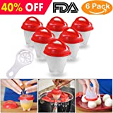 YTH IOBXT Cooker Hard Boiled egg Maker Nonstick Silicone Eggs Boiler Cookers without Egg Shell - 6 Packs ¡­