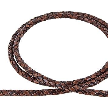 Antik Dunkelbraun Lederschnur geflochten 1 m Durchmesser 4,0 mm