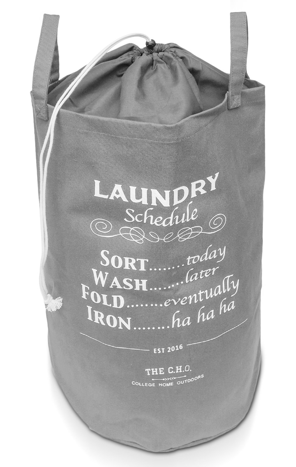 The C.H.O. Hilarious Laundry Hamper | Grey Laundry Schedule | 55 Liters of Heavy Duty Cotton Canvas | 21 Inches Tall x 14 Inches Wide | Collapsible | Drawstring Enclosure for Extra Space | by