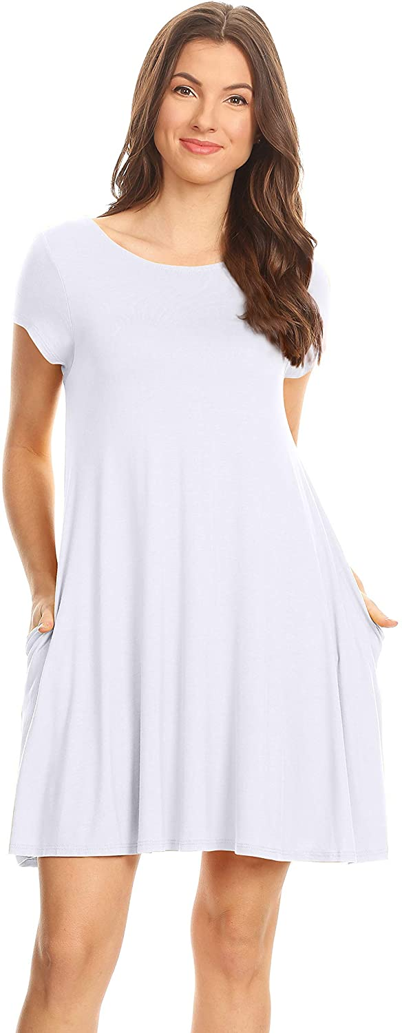 Casual T Shirt Dress for Women Flowy Tunic Dress with Pockets Reg and Plus Size