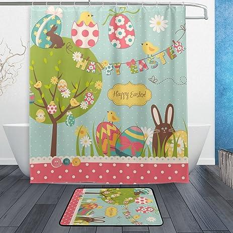 Amazon.com: ALAZA Set of 2 Cartoon Cute Easter Holiday 60 X 72 ...