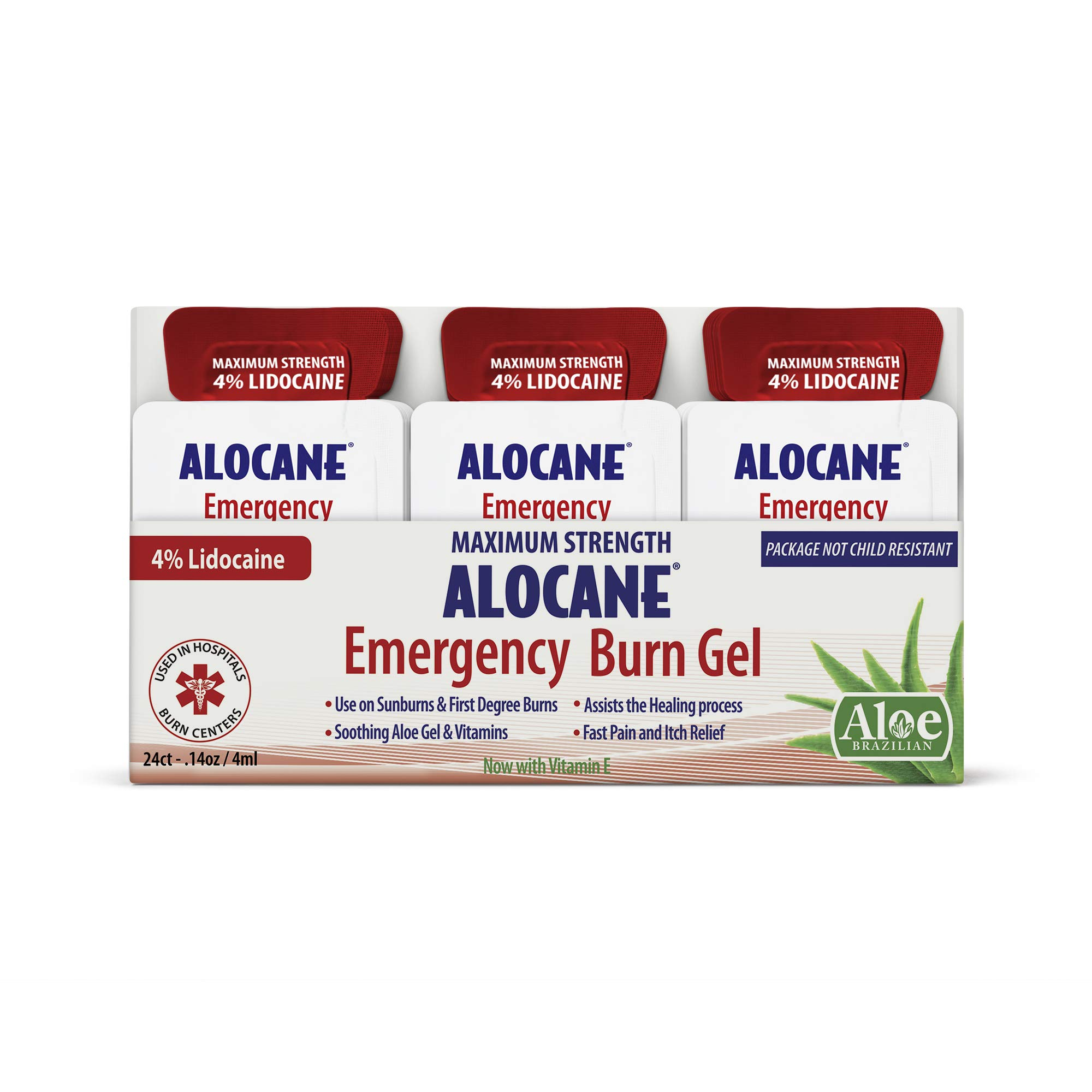 ALOCANE® Emergency Burn Gel Maximum Strength 4% Lidocaine Individual Use Packets,Commercial Grade, for Restaurants, Manufacturing, Other Heat Related Work environments, for Commercial Use Only, 24 Ct by Alocane