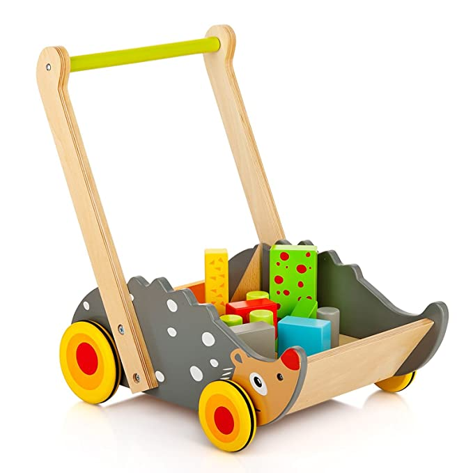 Andador Actividades Andador de Madera Carrito de Primer Paso Cubos Juguete Para Desarrollo de Habilidades Motoras Juguete Para Apilar Para Bebés ...