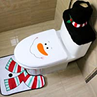 ShowPower Weihnachtsdeko Weihnachtsdekoration WC-Sitz Cover Wärmer Toiletten Sitzbezug Teppich Kreativ Festival Ornament Home Badezimmer Verziert Toilet Seat Cover + Toilet Paper Box Cover + Rug Set (Schneemann 02)