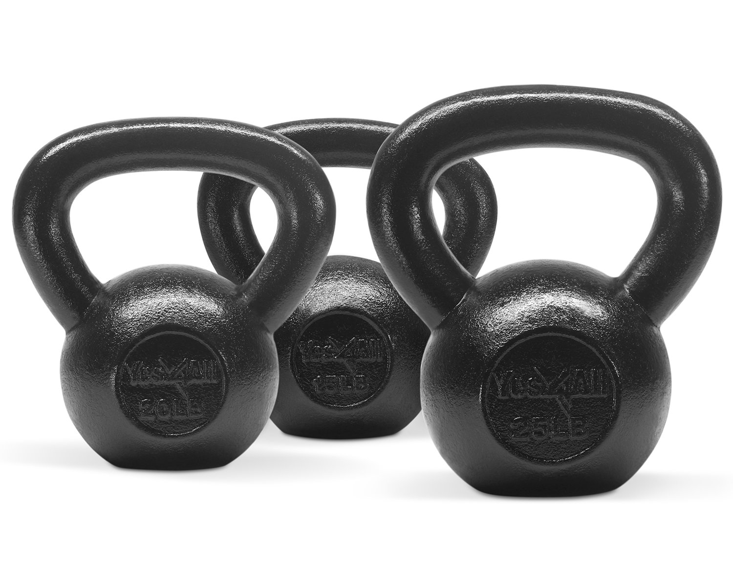 Yes4All Combo Cast Iron Kettlebell Weight Sets – Great for Full Body Workout and Strength Training – Kettlebells 15 20 25 lbs (Black)
