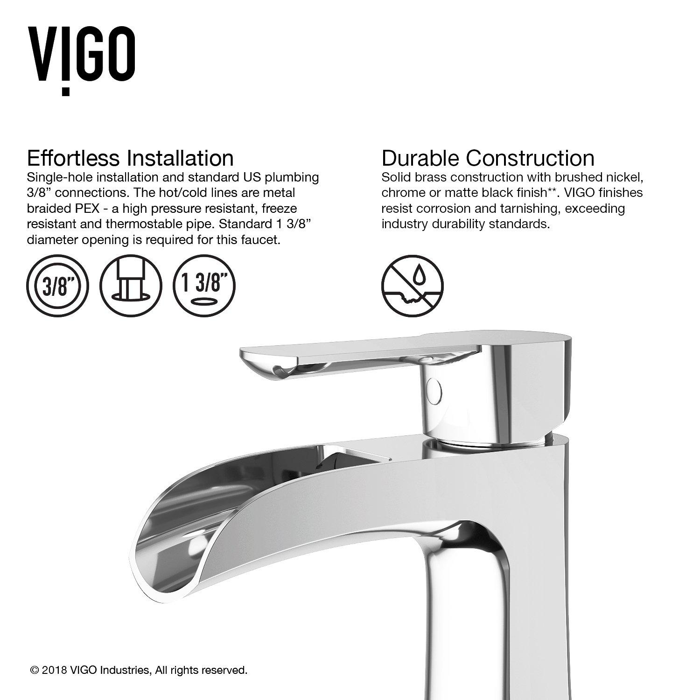 VIGO VG01041CH Paloma Solid Brass Single Hole Bathroom Sink Faucet ...