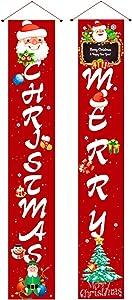 YIWULA Christmas Decorations for Home, Merry Christmas Porch Signs, Hanging Christmas Door Decorations for Home Porch Front Door Wall Party Green Christmas Decor