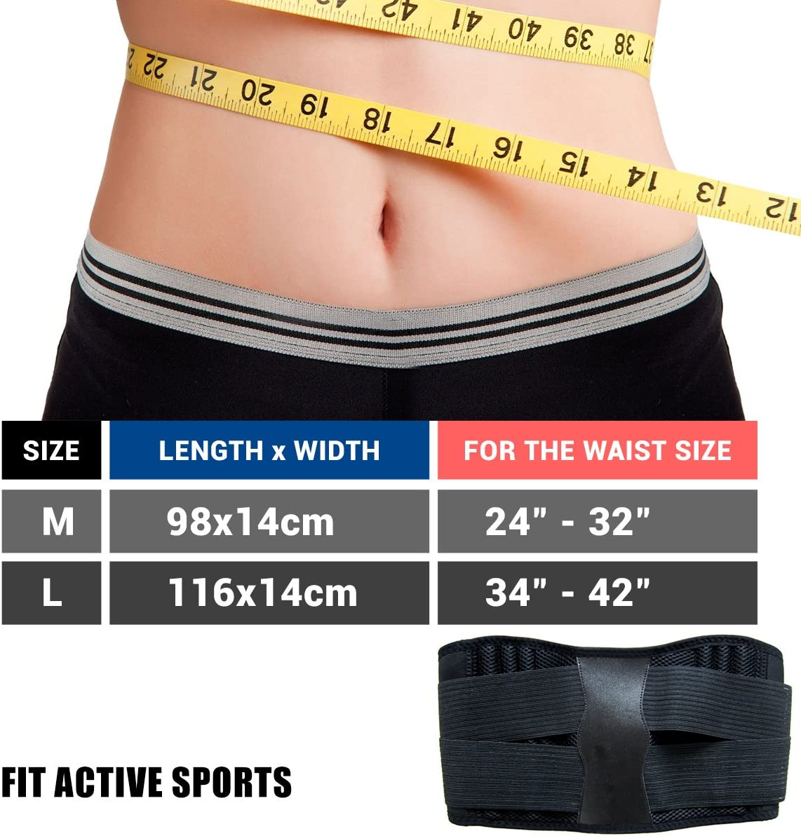 Fit Active Sports Back Brace Support Belt – Lumbar Posture Support Belt – Relieves Lower Back Pain