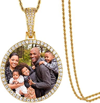 Picture Necklace Personalized Photo Pendant for Men customized Necklaces for Women Memory Medallion Pendant with Tennis Chain or Rope Chain Keychain Bag Ornaments Dog Tag Necklace Hip Hop Jewelry