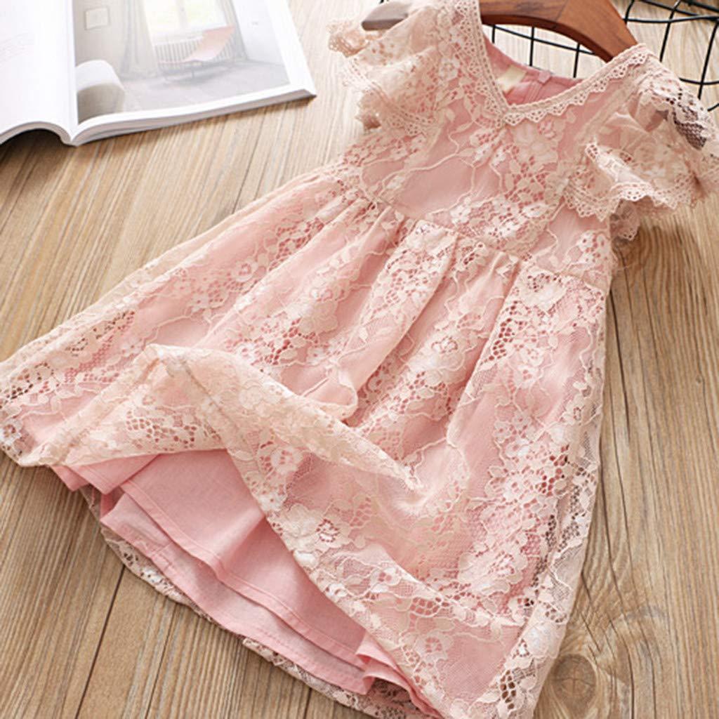 Little Girl Summer Dress,Jchen Baby Kids Girls Fly Sleeve Lace Patchwork Party Dance Princess Dress Sundress for 1-6 Yrs