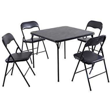 Giantex 5PC Black Folding Table Chair Set Guest Games Dining Room Kitchen Multi-Purpose