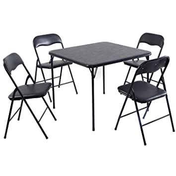 Amazon.com: Set de mesa y sillas plegables Giantex, PVC ...