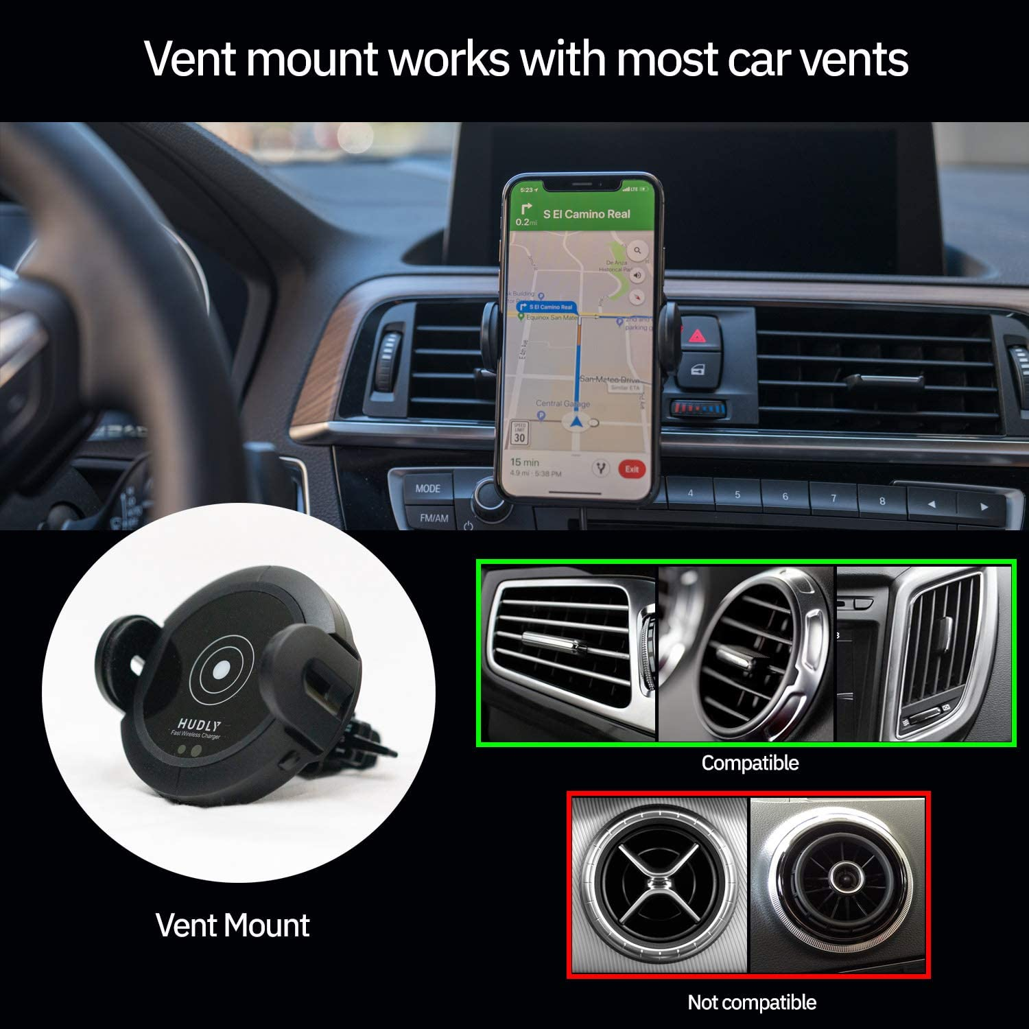 Dashboard 10W Samsung Galaxy Mounts on Vent or Windshield. Hudly Fast 10W Wireless Charger Car Mount with Robotic Arms Compatible with All Qi Enabled Smartphones: iPhone etc