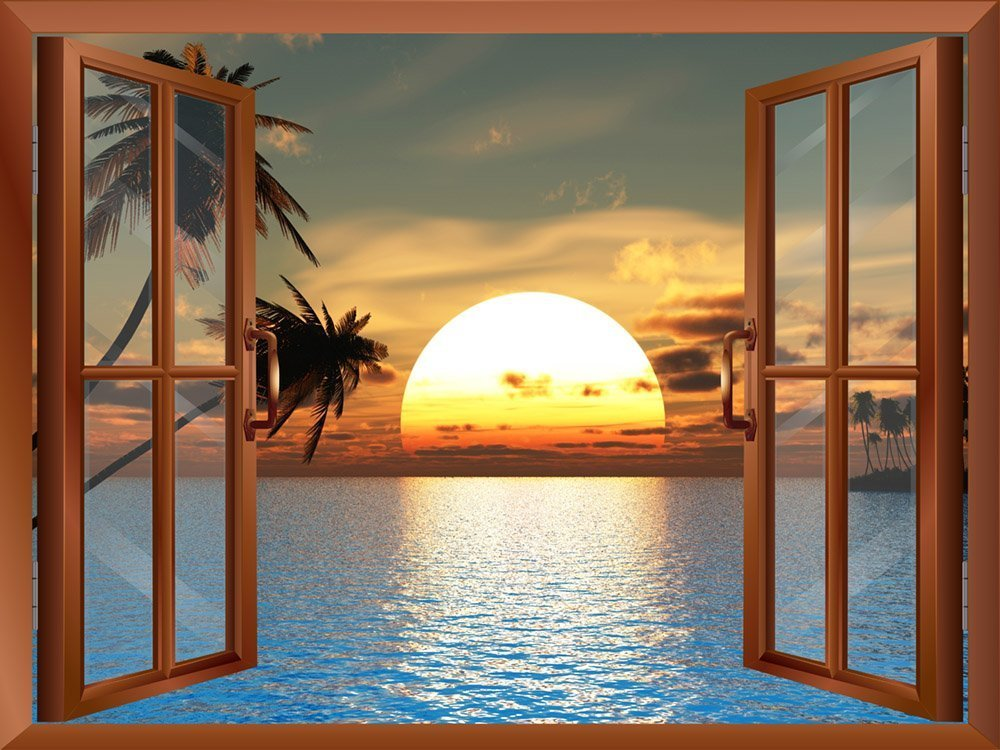 Tropical Beach Landscape With Palm Trees At Sunset View From Inside A Window Removable Wall Sticker