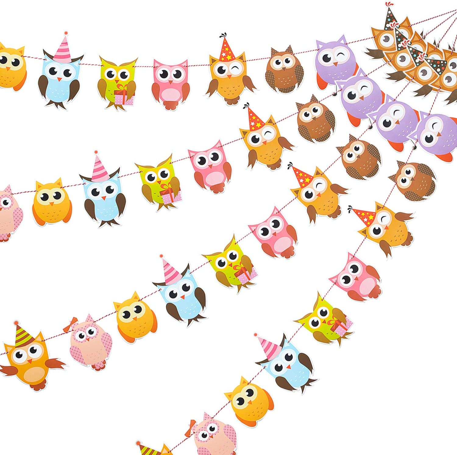 4 Pieces Owl Birthday Banners Colorful Owl Flag Banners Owl Print Bunting Banner Owl Themed Party Decorations for Baby Shower Birthday Party Supplies