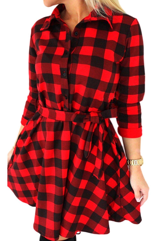 YACUN Women's 3/4 Sleeve Long Plaid Shirt Checkered Cocktail Dress CALCYR804