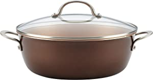 Ayesha Curry 10130 Home Collection Nonstick Stock Pot/Stockpot with Lid, 7.5 Quart, Brown Sugar