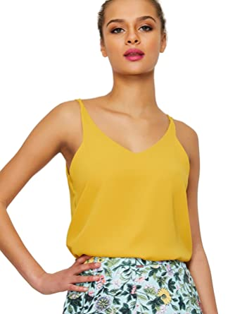 248dd8c7fb0632 Verdusa Women s Sleeveless V Neck Strappy Cami Top Vests Camisole Mustard XS