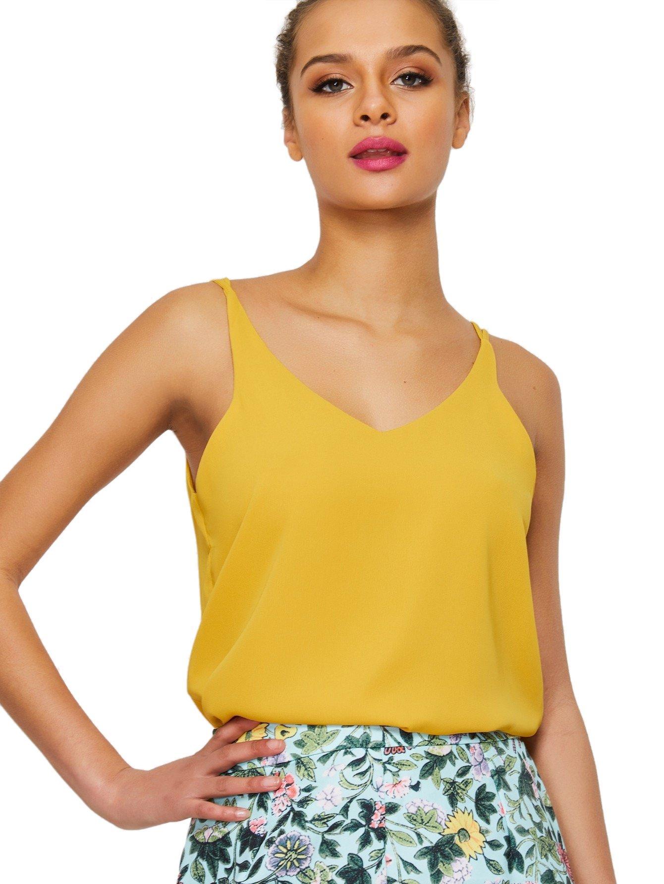 Verdusa Women's Sleeveless V Neck Strappy Cami Top Vests Camisole Mustard L