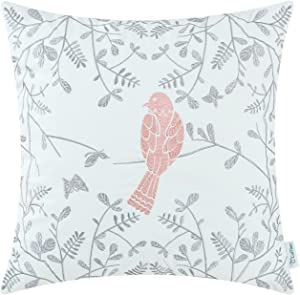 CaliTime Cotton Throw Pillow Case Cover for Bed Couch Sofa Cute Bird in Gray Garden Embroidered 18 X 18 Inches Coral Pink